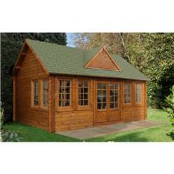 5.5m x 4.0m Log Cabin + 8 Windows - 44mm Wall Thickness **Includes Free Shingles**