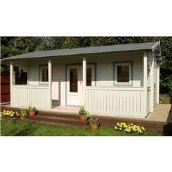 5m x 4m Log Cabin + Integral Veranda - 44mm Wall Thickness **Includes Free Shingles**