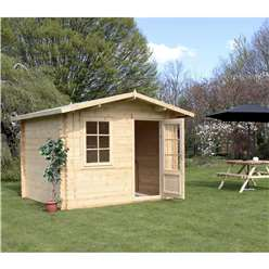 INSTALLED 3m x 2.4m Deluxe Apex Log Cabin (Single Glazing) + Free Floor & Felt & Safety Glass (28mm Tongue and Groove Logs) - INCLUDES INSTALLATION