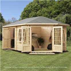 INSTALLED 5m x 3m Deluxe Plus Corner Log Cabin (Single Glazing) + Free Floor & Felt & Safety Glass (28mm Tongue and Groove Logs) **Right - INCLUDES INSTALLATION