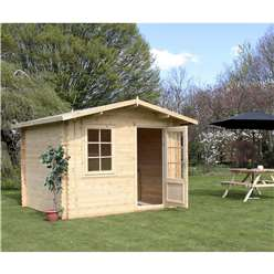 INSTALLED 3m x 2.4m Deluxe Apex Log Cabin (Single Glazing)  + Free Floor & Felt & Safety Glass (34mm Tongue and Groove) - INCLUDES INSTALLATION