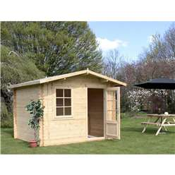 INSTALLED 3m x 2.4m Deluxe Apex Log Cabin (Single Glazing)  + Free Floor & Felt & Safety Glass (44mm Tongue and Groove Logs) - INCLUDES INSTALLATION