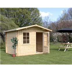 INSTALLED 3m x 2.4m Deluxe Apex Log Cabin (Double Glazing)  + Free Floor & Felt & Safety Glass (44mm Tongue and Groove) - INCLUDES INSTALLATION