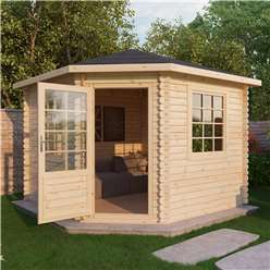 INSTALLED 3m x 3m Deluxe Corner Log Cabin (Single Glazing)  + Free Floor & Felt & Safety Glass (34mm Tongue and Groove Logs) - INCLUDES INSTALLATION