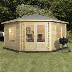 INSTALLED 4m x 4m Deluxe Corner Log Cabin (Double Glazing) + Free Floor & Felt & Safety Glass (34mm Tongue and Groove Logs) - INCLUDES INSTALLATION