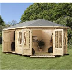 INSTALLED 5m x 3m Deluxe Plus Corner Log Cabin (Double Glazing) + Free Floor & Felt & Safety Glass (34mm Tongue and Groove Logs) **Right - INCLUDES INSTALLATION