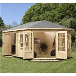 INSTALLED 5m x 3m Deluxe Plus Corner Log Cabin (Double Glazing) + Free Floor & Felt & Safety Glass (44mm Tongue and Groove Logs) **Right - INCLUDES INSTALLATION