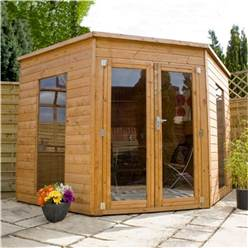 8 x 8 Deluxe Tongue and Groove Corner Summerhouse with solid OSB Floor