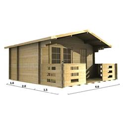 Deluxe 13ft x 10ft (4m x 3m) Apex Log Cabin - Double Glazing - 34mm Wall Thickness (2045) + FREE INSTALL