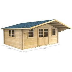 Deluxe 16ft x 13ft (5m x 4m) Apex Log Cabin - Double Glazing - 34mm Wall Thickness (2109) + FREE INSTALL