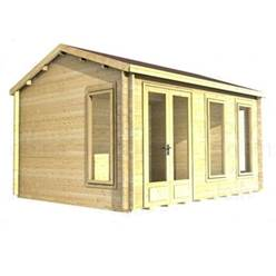 Deluxe 12ft x 12ft (3.5m x 3.5m) Reverse Apex Log Cabin - Double Glazing - 34mm Wall Thickness (2039) + FREE INSTALL