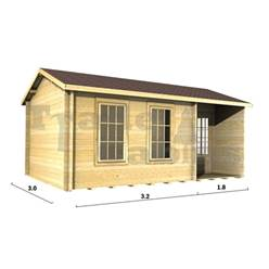 Deluxe 16ft x 10ft (5m x 3m) Reverse Apex Log Cabin - Double Glazing - 34mm Wall Thickness (2090) + FREE INSTALL