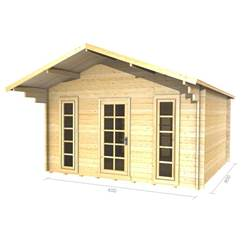 4m x 4m Deluxe Apex Log Cabin - Double Glazing - 34mm Wall Thickness (2051)