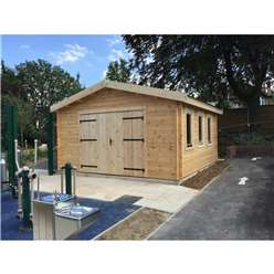 Premier 13ft X 16ft (4m X 5m) Garage Log Cabin - Double Glazing - 44mm Wall Thickness + FREE INSTALL