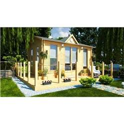 Deluxe 16ft x 13ft (5m x 4m) Reverse Apex Log Cabin - Double Glazing - 34mm Wall Thickness (2140) + FREE INSTALL