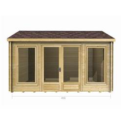 4.5m x 3.5m Deluxe Reverse Apex Log Cabin - Double Glazing - 34mm Wall Thickness (2076)