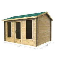 3.5m x 2.5m Deluxe Reverse Apex Log Cabin - Double Glazing - 34mm Wall Thickness (2038)