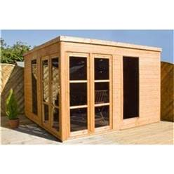 10 x 10 Deluxe Pent Style Summerhouse with 12mm Tongue and Groove Floor and Roof
