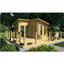 Deluxe 13ft x 13ft (4m x 4m) Pent Style Log Cabin - Double Glazing - 34mm Wall Thickness (2054) + FREE INSTALL