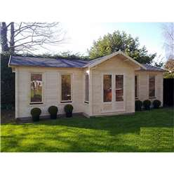 Deluxe 28ft x 15ft (8.5 x 4.5m) Reverse Apex Log Cabin - Double Glazing - 44mm Wall Thickness (2127) + FREE INSTALL