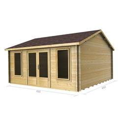 Deluxe 15ft x 15ft (4.5m x 4.5m) Reverse Apex Log Cabin - Double Glazing - 34mm Wall Thickness (2077) + FREE INSTALL