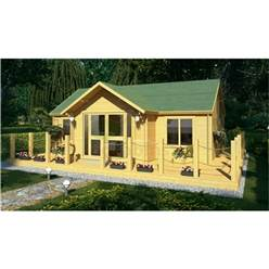 7m x 5m Deluxe Reverse Apex Log Cabin - Double Glazing - 44mm Wall Thickness (4120)