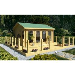 4.5m x 3.5m Deluxe Reverse Apex Log Cabin - Double Glazing - 34mm Wall Thickness (2075)
