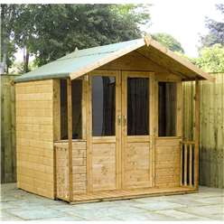 7 x 7 Deluxe Tongue and Groove Summerhouse with a Free Veranda with Half Glazed Doors