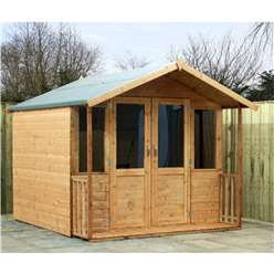 7 x 8 Deluxe Tongue and Groove Summerhouse with a Free Veranda with Half Glazed Doors