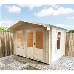 3.29m x 2.39m Superior Log Cabin + Double Doors - 19mm Tongue and Groove Logs