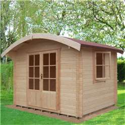 2.99m x 2.39m Superior Curved Roof Style Log Cabin - 28mm Tongue and Groove Logs