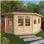 5m x 3m Deluxe Grande Corner Log Cabin (Single Glazing) + Free Floor & Felt & Safety Glass (28mm Tongue and Groove Logs) **Left