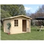 10ft x 8ft (3m x 2.4m) Deluxe Apex Log Cabin (Single Glazing) Free Floor and Felt (28mm Tongue and Groove Logs)