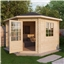10ft x 10ft (3m x 3m) Deluxe Corner Log Cabin (Single Glazing) With Free Felt (28mm Tongue & Groove Logs)