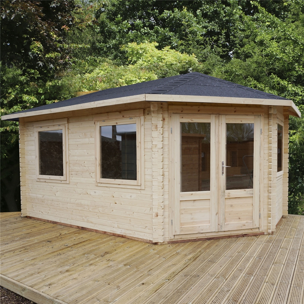 5m X 3m Grande Corner Log Cabin 34mm. Full resolution  picture, nominally Width 1024 Height 1024 pixels, picture with #5F442A.