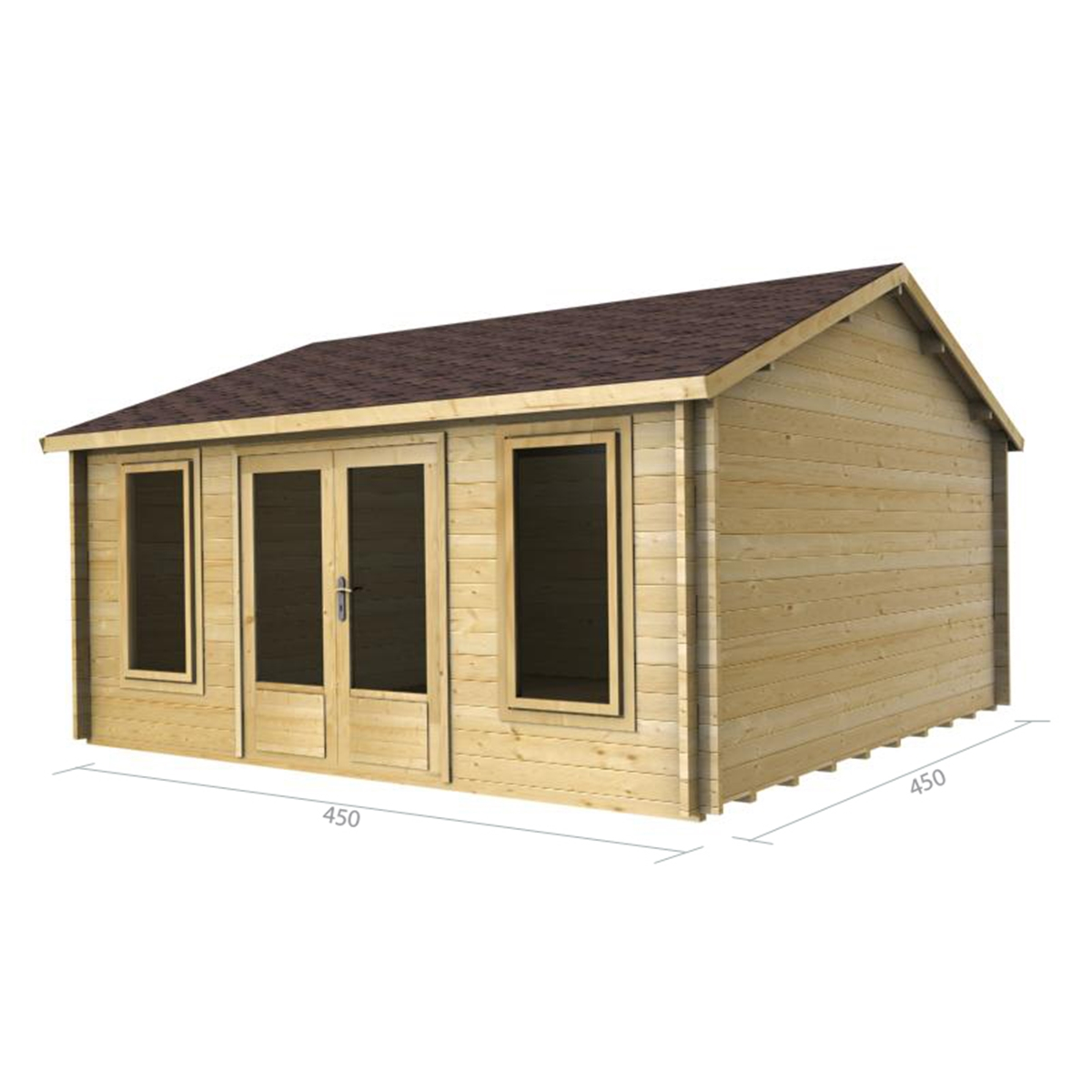 Superb img of Discovery Premier Cabins : 4.5m x 4.5m Deluxe Reverse Apex Log Cabin  with #9A7731 color and 1200x1200 pixels