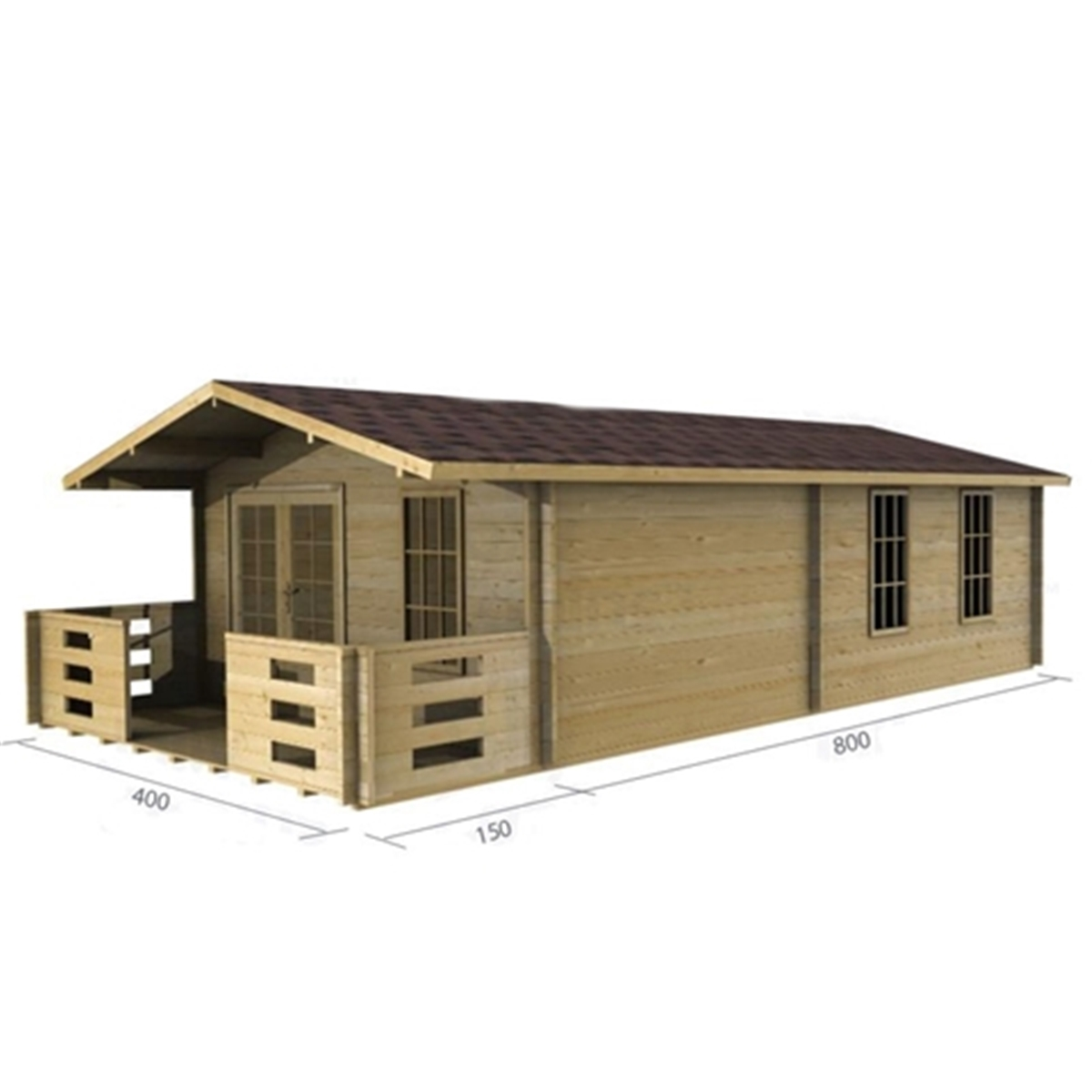 Superb img of Discovery Premier Cabins : 4m x 8m Deluxe Apex Log Cabin Double  with #997632 color and 1200x1200 pixels