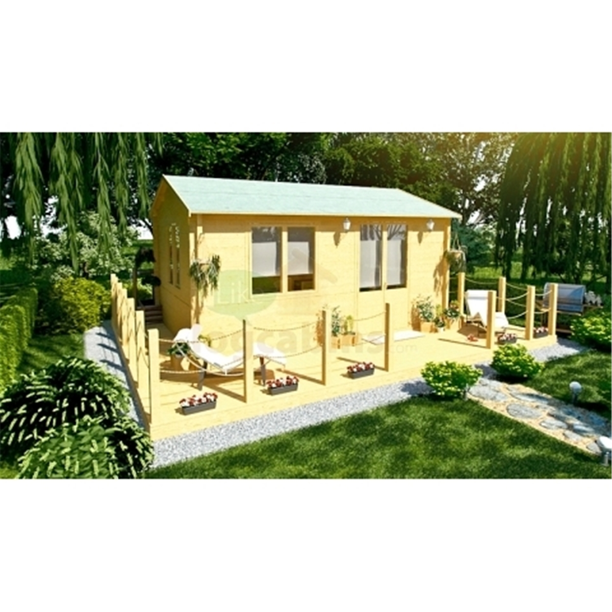 Superb img of Discovery Premier Cabins : 6m x 4m Deluxe Reverse Apex Log Cabin  with #604D18 color and 1200x1200 pixels
