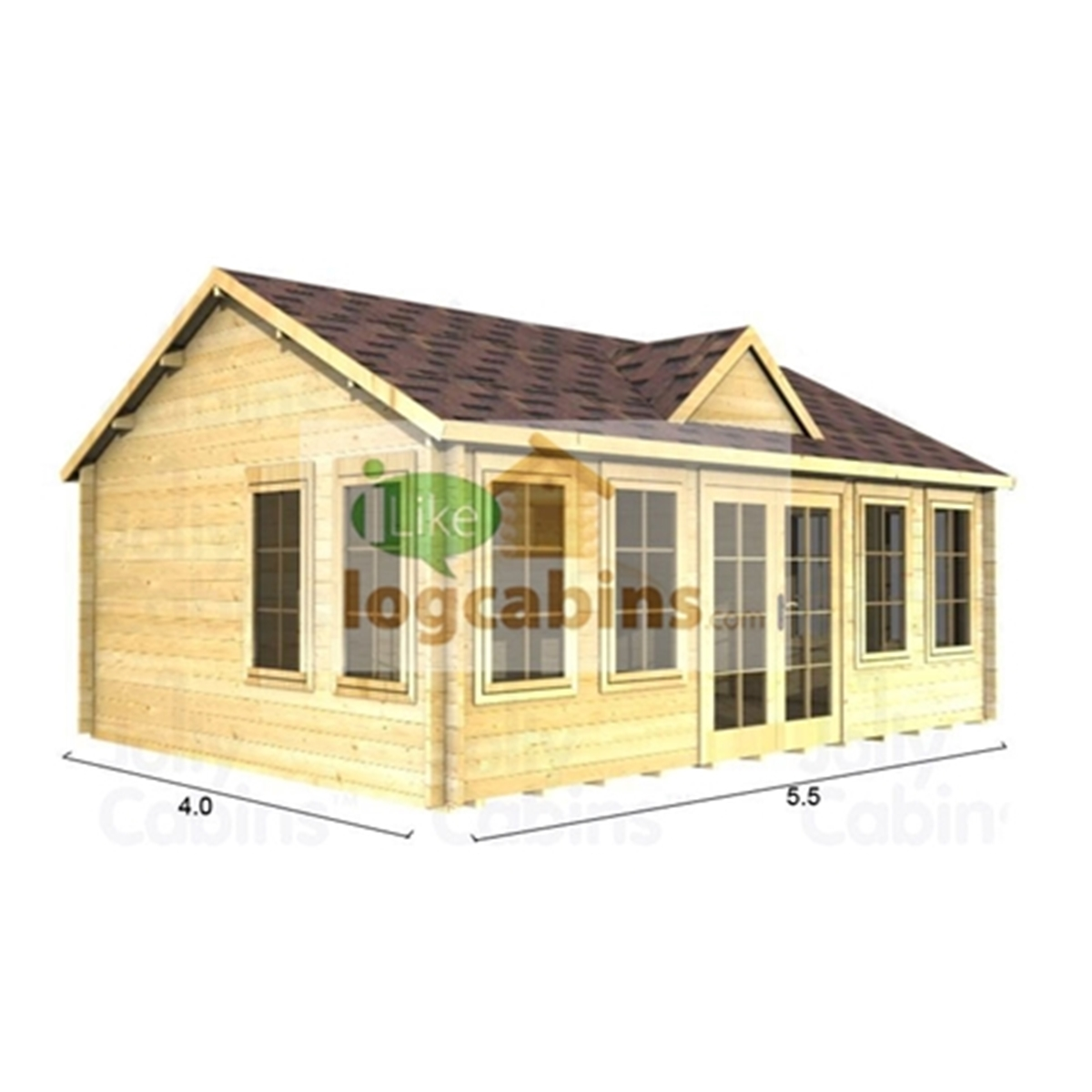 Superb img of Discovery Premier Cabins : 5.5m x 4.0m Deluxe Reverse Apex Log Cabin  with #A98322 color and 1200x1200 pixels