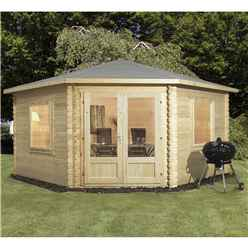 4m x 4m Deluxe Corner Log Cabin (Single Glazing) + Free Floor & Felt & Safety Glass (28mm Tongue and Groove Logs)