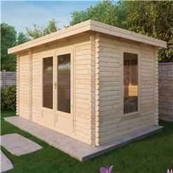4m x 2.5m Deluxe Pent Log Cabin (Single Glazing) + Free Floor & Felt & Safety Glass (28mm Tongue and Groove Logs)