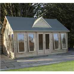 5.5m x 4m Deluxe Clock House Log Cabin (44mm T+G) + Free Floor & Felt & Safety Glass  Double Glazing