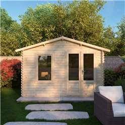 3.43m x 2.70m Value Log Cabin + Free Floor & Felt & Safety Glass  (19mm Tongue and Groove)