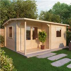 4m x 3m Deluxe Reverse Log Cabin + Porch (Double Glazing) + Free Floor & Felt & Safety Glass (34mm Tongue and Groove Logs)