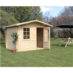 3m x 2.4m Deluxe Apex Log Cabin (Single Glazing)  + Free Floor & Felt & Safety Glass (34mm Tongue and Groove)