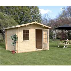 3m x 2.4m Deluxe Apex Log Cabin (Double Glazing)  + Free Floor & Felt & Safety Glass (44mm Tongue and Groove)