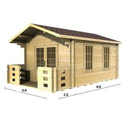 3m x 4m Deluxe Apex Log Cabin - Double Glazing - 44mm Wall Thickness (2016)