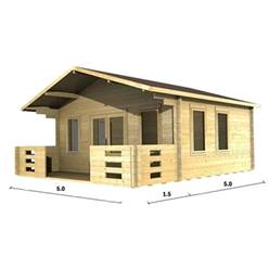 5m x 5m Apex Log Cabin - Double Glazing - 70mm Wall Thickness (2083)