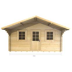 4m x 4m Deluxe Apex + Canopy Log Cabin - Double Glazing - 70mm Wall Thickness (2073)