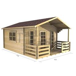 4m x 3m Deluxe Apex Log Cabin - Double Glazing - 44mm Wall Thickness (2057)